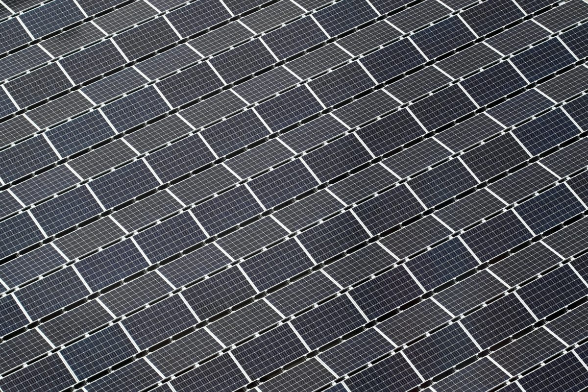 Aerial view of multiple solar panels